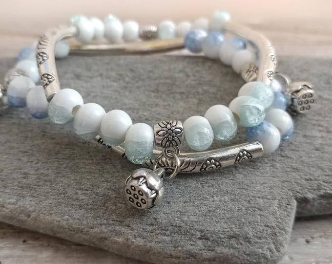 Double Boho Bracelet, Sky, BEADB-8- Please call for wholesale pricing