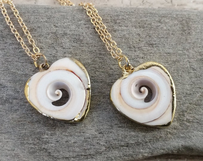 Shell Heart Necklace, MOQ 3