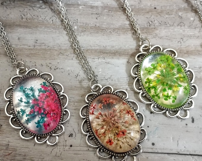 Pressed Flower Necklace, PFN-1- Please call for wholesale pricing