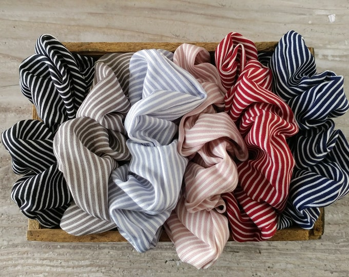 Set, Pinstriped Scrunchies, Includes 6, ACC-2- Please call for wholesale prices