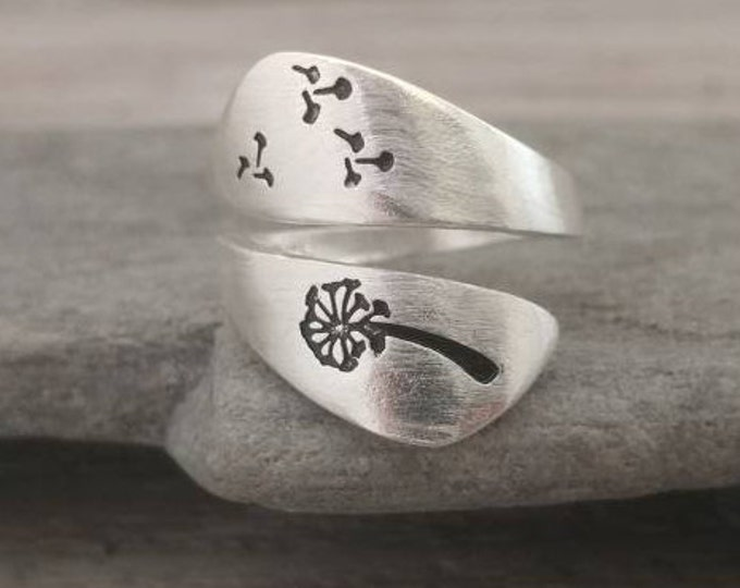 Stamped Silver Dandelion Ring, Call for Code to Unlock Wholesale Pricing