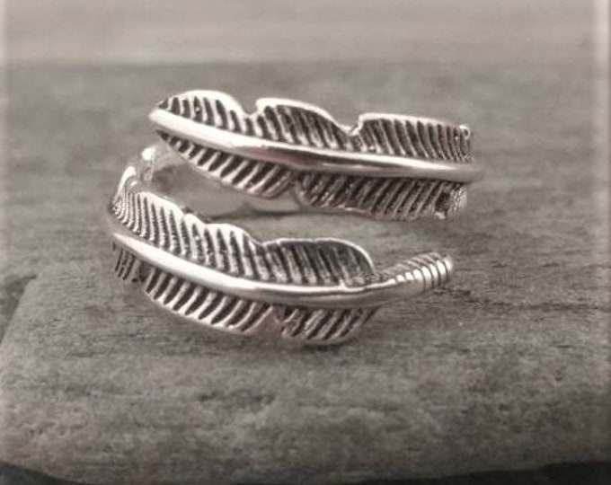 Simple Silver Leaf Wrap Around Ring, Call for Code to Unlock Wholesale Pricing