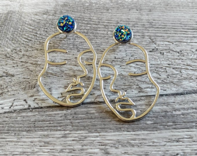 Druzy Face Earrings, Silver or Gold, EAR-16-Please call for wholesale pricing