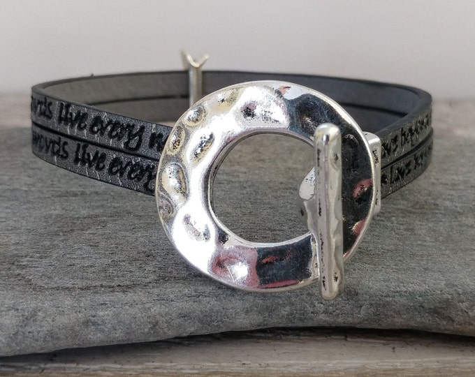 Stamped Toggle Bracelet, Vegan, Handmade, MOQ 3- Please call for wholesale pricing