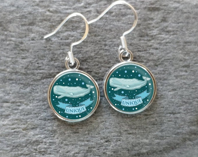 Kids Whale Earrings, Handmade, Multiple Images, 12  Settings Available, KW-E