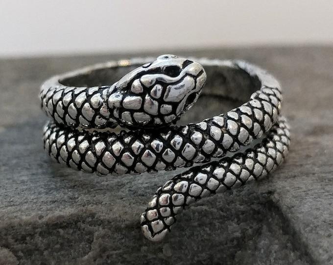 Coil Snake Ring, Silver Snake Ring, Minimalist Snake Ring, Unisex Snake Ring