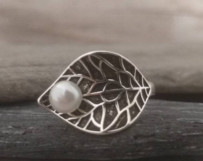 Leaf & Pearl Statement Ring,  Call for Code to Unlock Wholesale Pricing