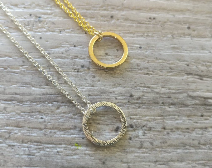 Brushed Circle Necklace, MOQ 3
