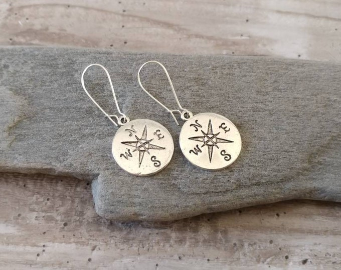 Silver Compass Earrings, EAR-5-Please call for wholesale pricing