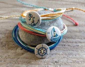 SET of 3 Nautical Button Bracelets