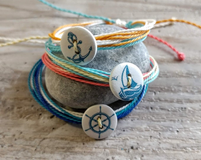 SET of 3 Nautical Button Bracelets, CORDB-7- Please call for wholesale prices