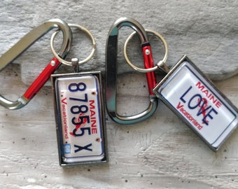 Large Plate Key Chain, MOQ 3, Simple or Carabiner