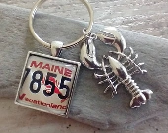 Lobster License Plate Key Chain- List Price Reflects MSRP