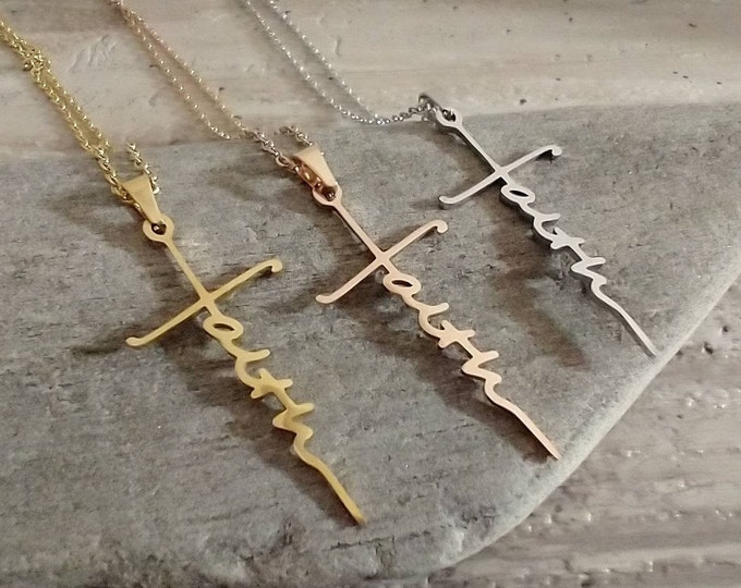 Faith Cross Necklace, Silver Faith Necklace, Gold Faith Necklace, Rose Gold Faith Necklace, Minimalist Cross Necklace