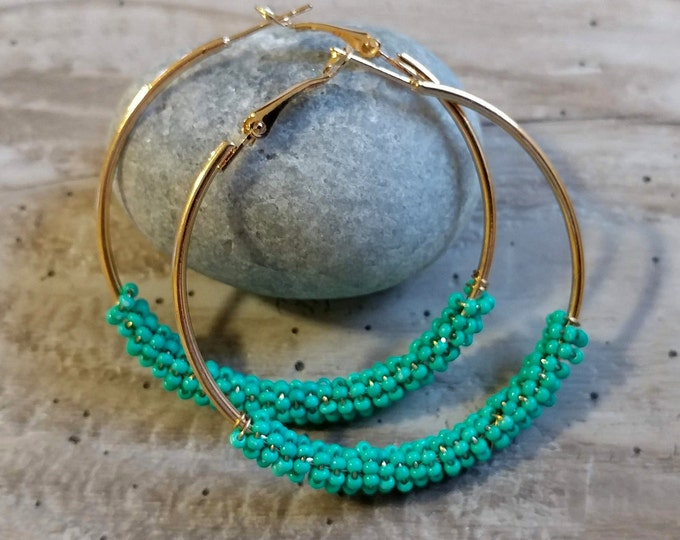 Seed Bead Hoop Earrings, BOHO-E2- Please call for wholesale pricing
