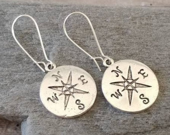 Stamped Silver Compass Earrings, Listing Price Reflects MSRP