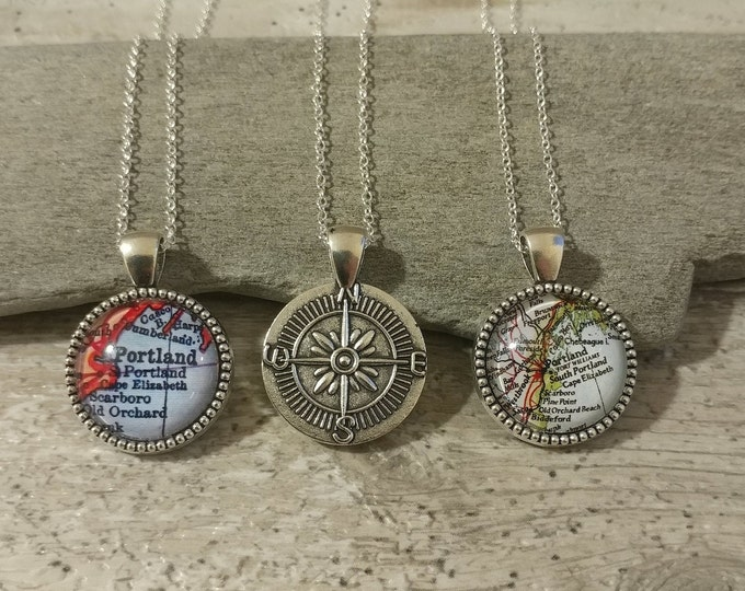 Custom Map Compass Necklace, CN-2MAP- Please call for wholesale pricing