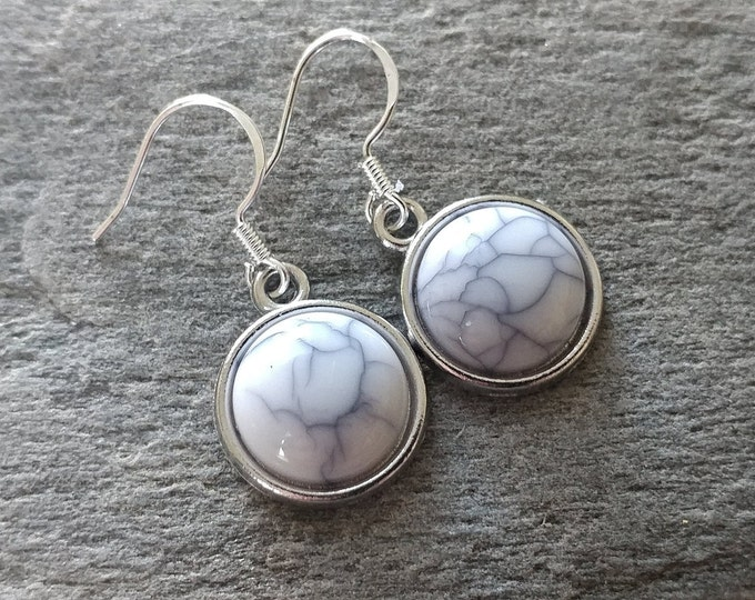 Resin Crackle Marble & Turquoise Earrings, 6 Color Options, 12  Settings Available, MT-E-Please call for wholesale prices