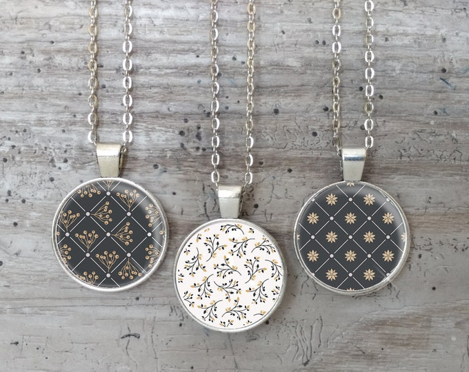Black, White & Gold Necklace, Silver or Bronze, Handmade In Maine