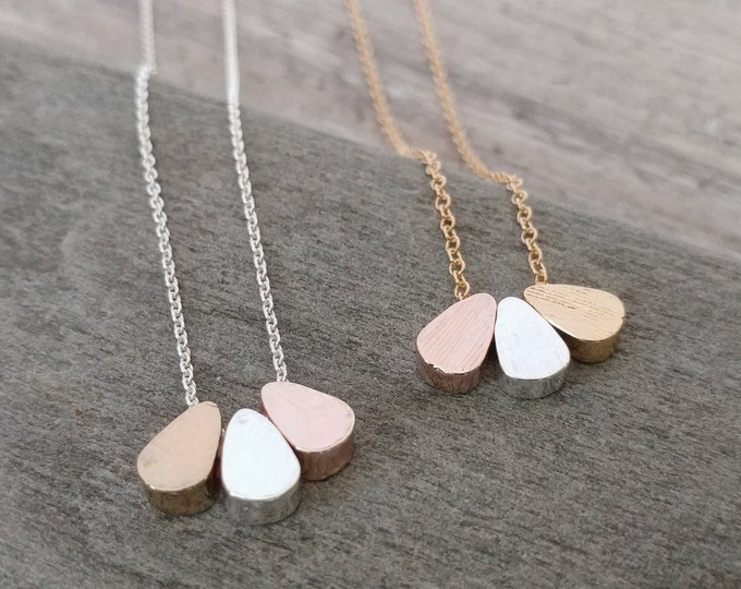 Triple Teardrop Necklace, MOQ 3