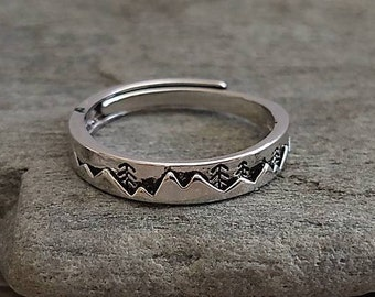 Delicate Silver Mountain Ring, Dainty Mountain Ring, Silver Mountain Ring, Wanderlust Ring, Mountain Band