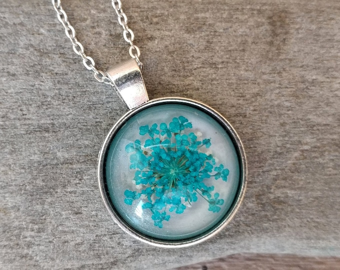 Shimmer Pressed Flower Necklace, PFN-21- Please call for wholesale pricing code