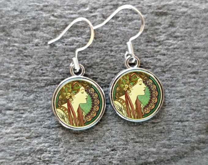 Mucha Huaart & Clock Earrings, Handmade, Multiple Images, 12  Settings Available, MUC-E-Please call for wholesale prices