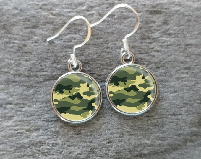Camo Earrings, Handmade, Multiple Images, 12  Settings Available, CAMO-E-Please call for wholesale prices