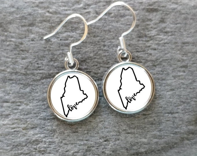 State of Maine Earrings, Handmade, Multiple Images, 12  Settings Available, ME-E-Please call for wholesale prices