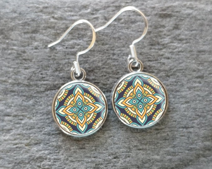 Mandala Earrings, Handmade, Multiple Images, 12  Settings Available, MP-E