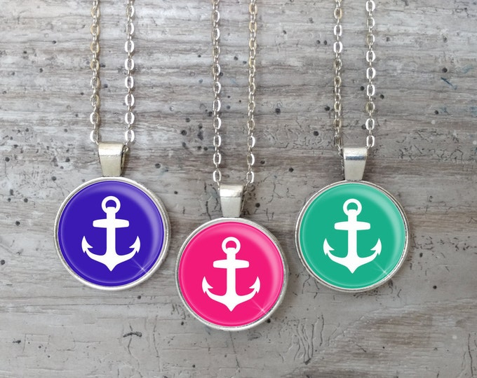 Preppy Anchor Necklace, Silver or Bronze, Handmade In Maine