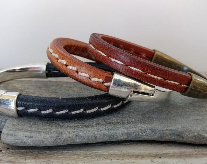 Stitched  Leather Magnetic Bracelet, Handmade, LB-28- Please call for wholesale pricing