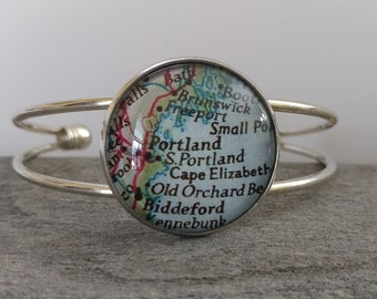 Double Band Bracelet, Custom Map or Artwork Available