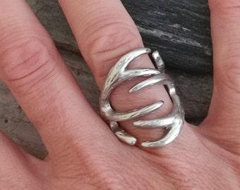 Silver Antler Statement Ring. Adjustable