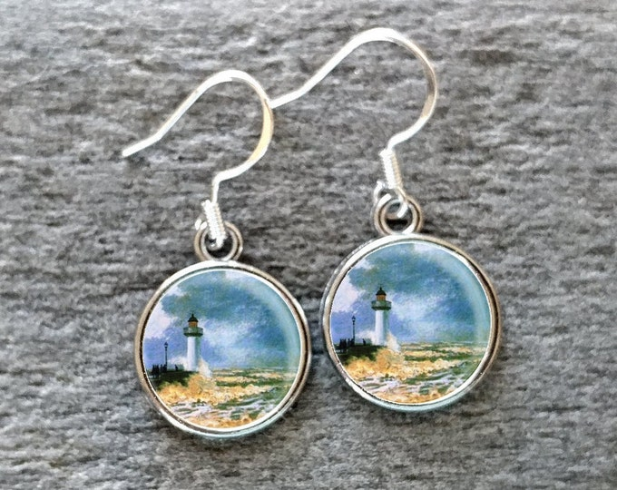 Claude Monet Earrings, Handmade, Multiple Images, 12  Settings Available, CM-E-Please call for wholesale prices