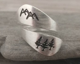 Stamped Silver Mountain Ring, Call for Code to Unlock Wholesale Pricing
