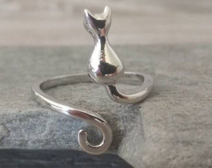 Adorable Silver Cat Ring, Call for Code to Unlock Wholesale Pricing