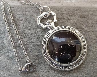 Pocket Watch Celestial Necklace, Silver