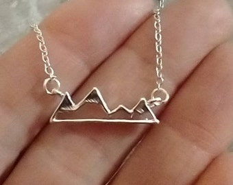 Delicate Mountain Necklace, Available in Silver