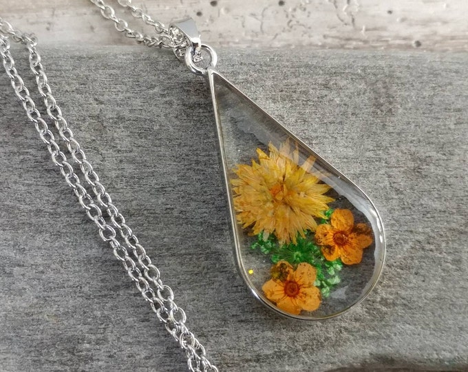 Teardrop Flower Necklace, PFN-10- Please call for wholesale pricing