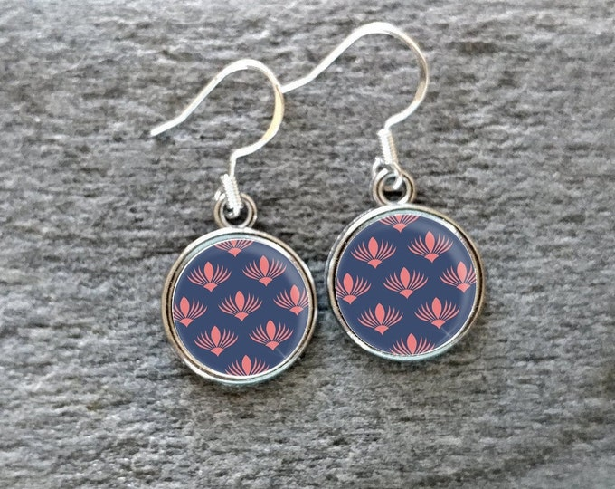 Pink N Blue Earrings, Handmade, Multiple Images, 12  Settings Available, PNB-E-Please call for wholesale prices