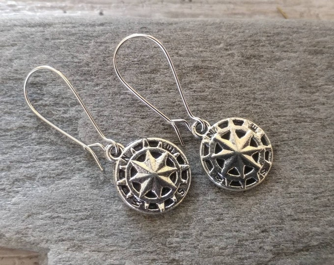 Silver Compass Earrings, EAR-23-Please call for wholesale pricing
