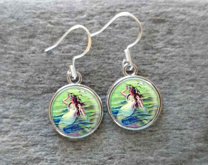 Mermaid Earrings, Handmade, Multiple Images, 12  Settings Available, MM-E