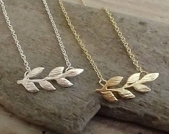Dainty Olive Leaf Necklace, Available in Silver or Gold