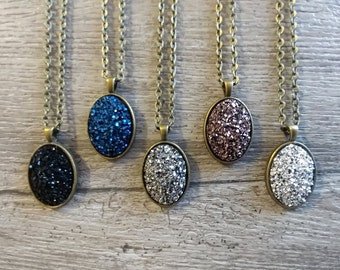 Druzy Necklace, MOQ 3