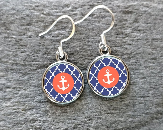 Custom Nautical Anchor Earrings, Handmade, Multiple Images, 12  Settings Available, CNA-E-Please call for wholesale prices
