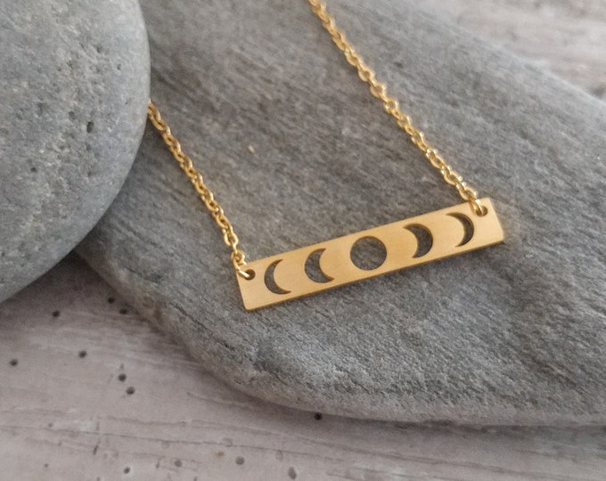 Silver or Gold Moon Phase Necklace, Minimalist Moon Necklace, Stamped Moon Phase Necklace