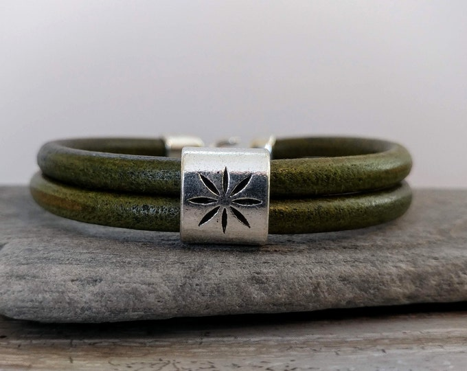 North Star Leather Stack Bracelet, Handmade, LB-27- Please call for wholesale pricing