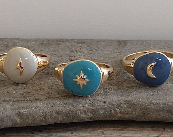 Adorable Gold Celestial Rings, Moon Ring, Star Ring, Sun Ring, Lightning Ring, Gift for Her, Valentines Gift