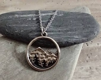 Minimalist Silver Mountain Necklace, Wanderlust Necklace, Nature Necklace